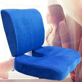 Memory Foam Back Lumbar Coccyx Support Pillows Two Piece Set