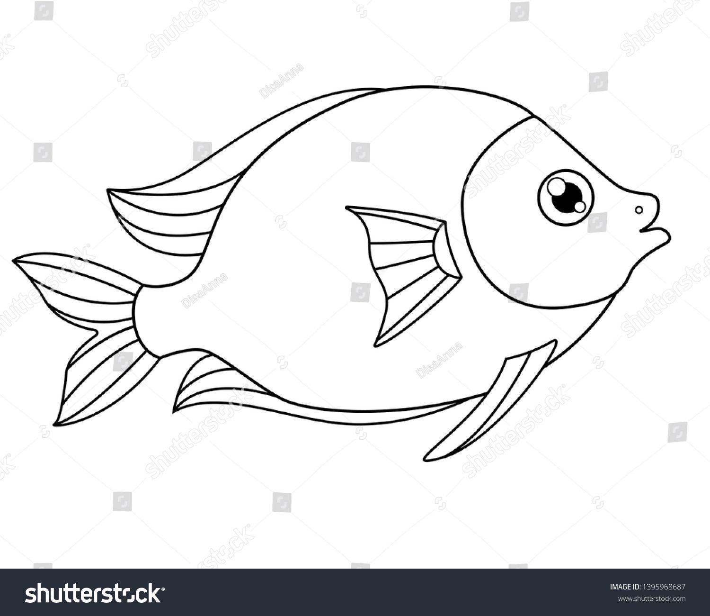 Cute Tropical Fish A Picture For Coloring Vector Linear Fish Animal Design Element Aquarium Fish Tropical Fish Pictures Tropical Fish Colorful Pictures