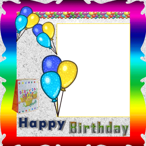 Personalize Your Birthday Photo Frame With Custom Name.Colorful Balloons  Photo Frame For Birthday With