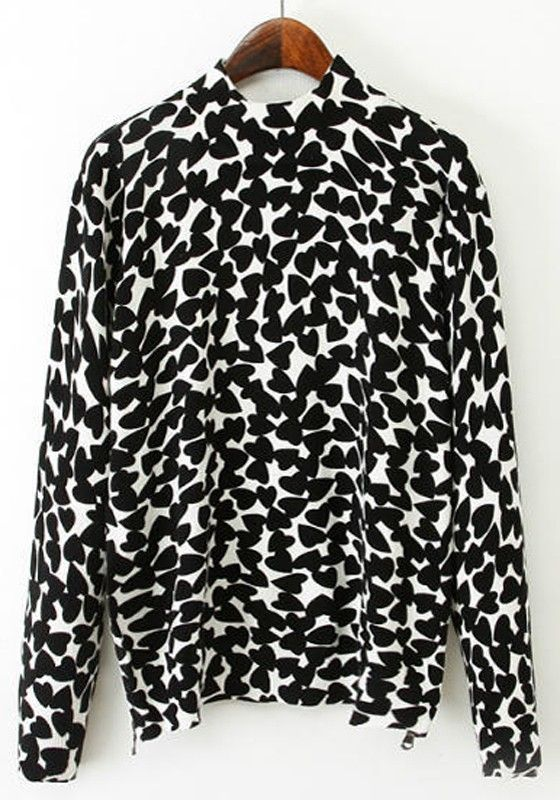 Love all the Hearts! Black and White Love Print Pullover #Black_and_White #Hearts #Love #Print #Pullover