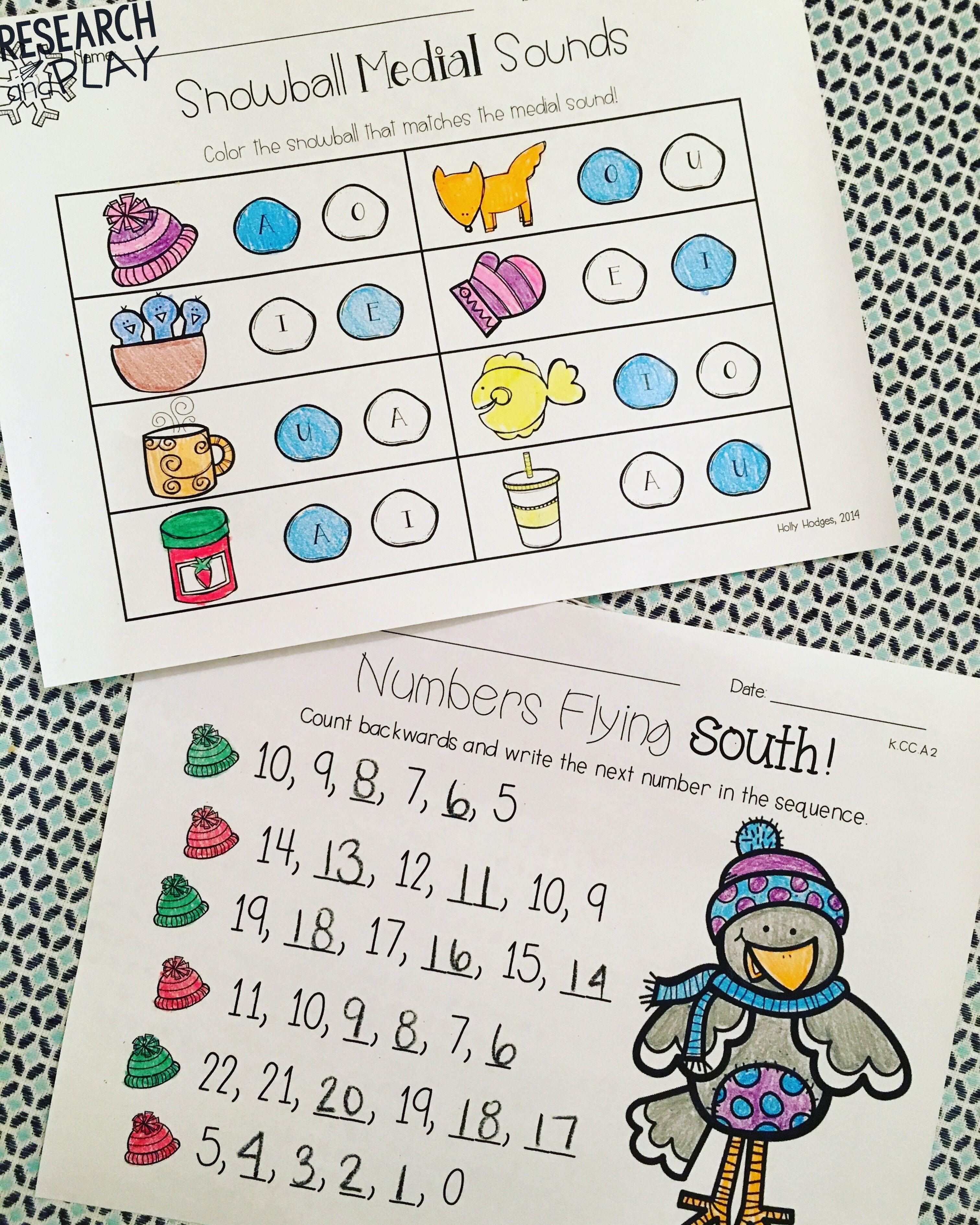 Winter Phonics And Math Center Activities