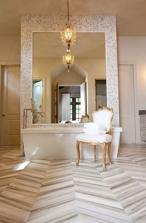 Simply Beautiful Bathrooms: The Gold Antique Chair With Streamlined White Upholstery