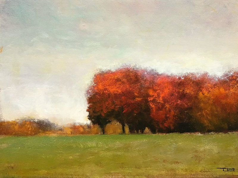 Autumn Red Trees Fall Colors Impressionist Tonal Landscape Dibujos
