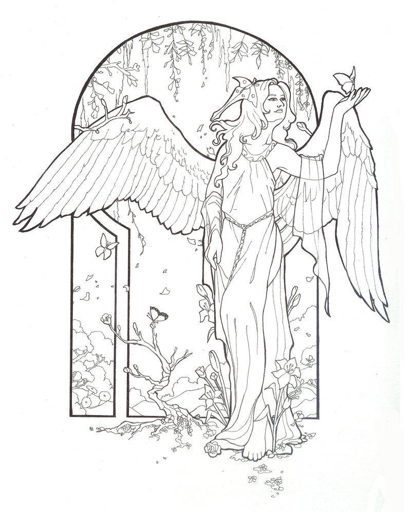 Line Art Angel : Spring angel line art by angelasasser on deviantart my