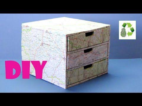 123 diy organizador gavetero reciclaje de carton for Hacer muebles con carton
