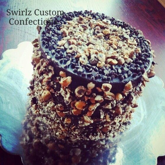 Chocolate hazelnut cake www.swirlzcustomconfections.com