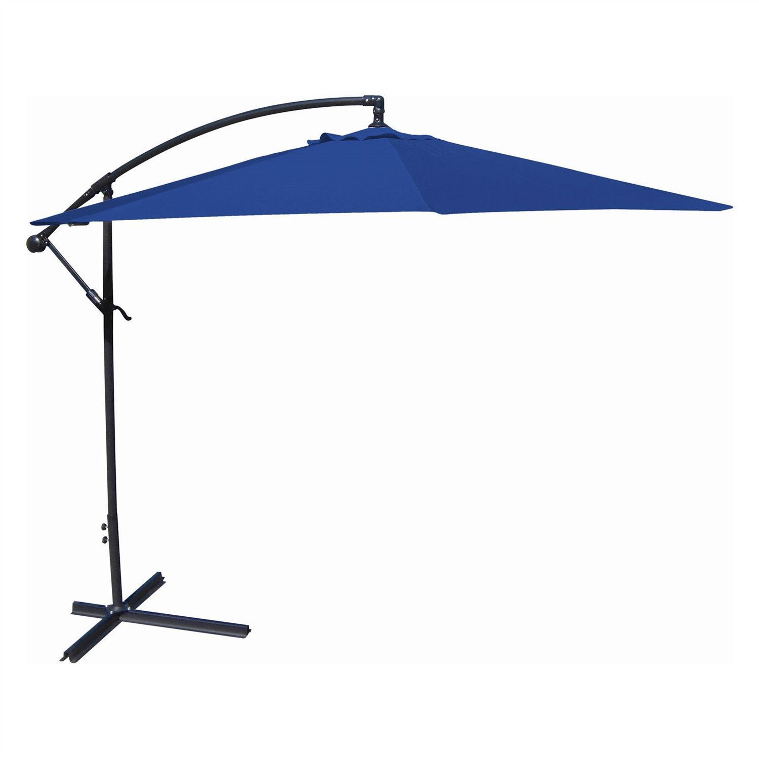 10 Ft Offset Cantilever Patio Umbrella With Royal Blue Canopy Shade