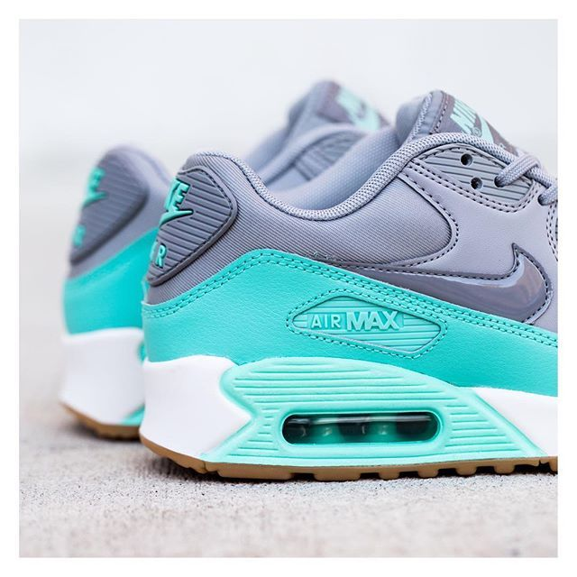 wholesale dealer 18901 479e0 Nike Women s Air Max 90  Wolf Grey Stealth Hyper Turquoise White