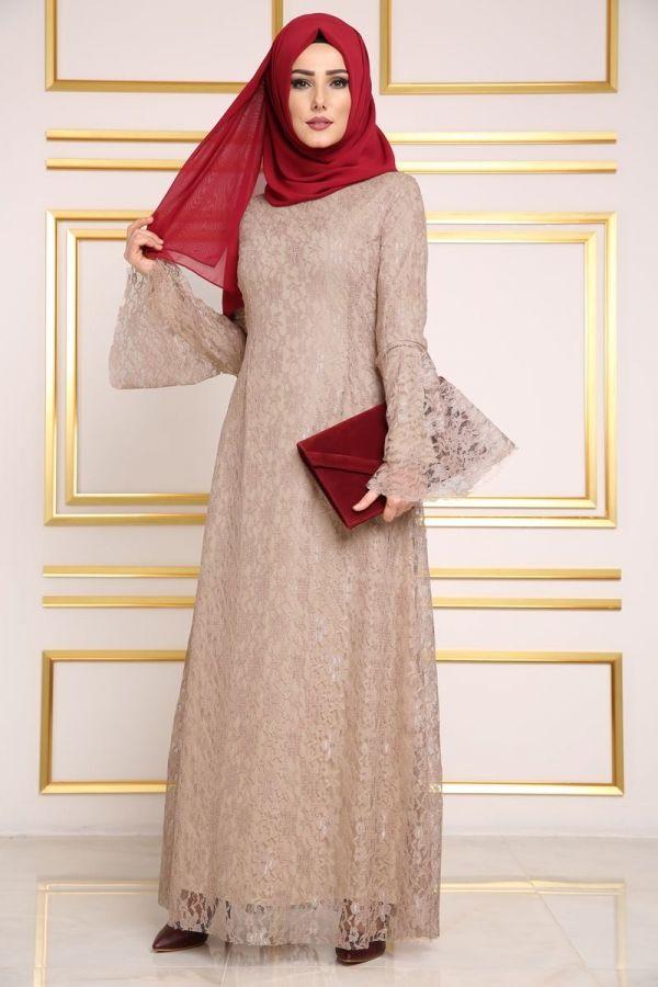 Volan Kol Dantelli Tesettur Elbise Ayb8003 Vizon Model Pakaian Model Pakaian Muslim Gaya Busana