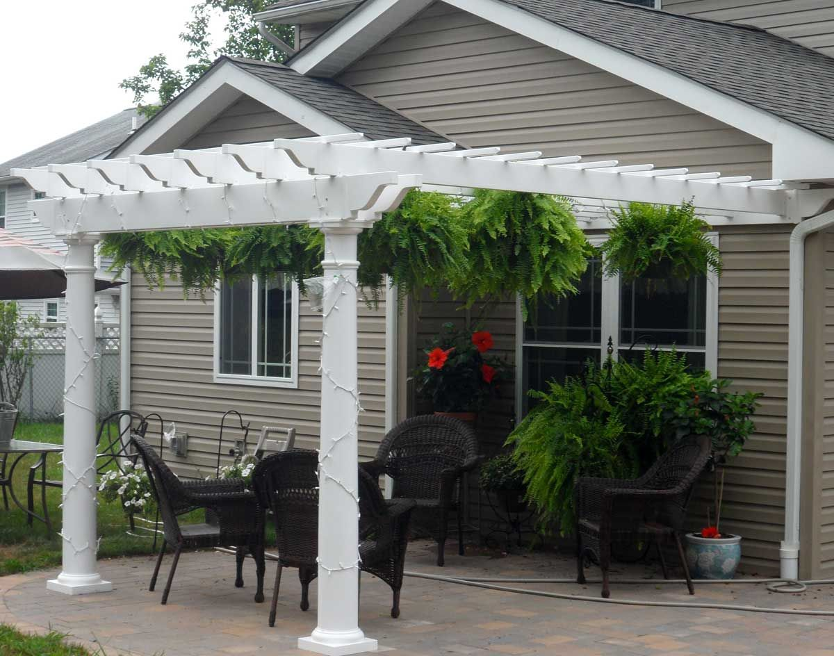 pergolas attached to house | Vinyl 2-Beam Wall Mount Pergolas | Pergolas by  Style - Pergolas Attached To House Vinyl 2-Beam Wall Mount Pergolas