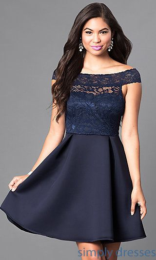 36b8cd05ae5d Shop navy blue off-the-shoulder semi-formal dresses at Simply Dresses.  Short party dresses with lace bodices and a-line skirts for homecoming.