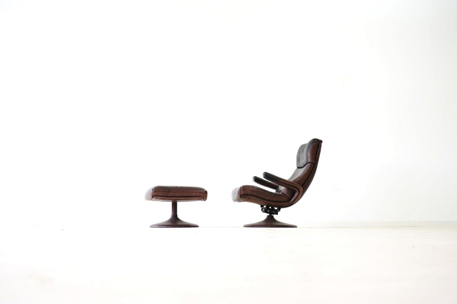 Lese Sessel de sede leder relax lese sessel lounge king chair mit hocker