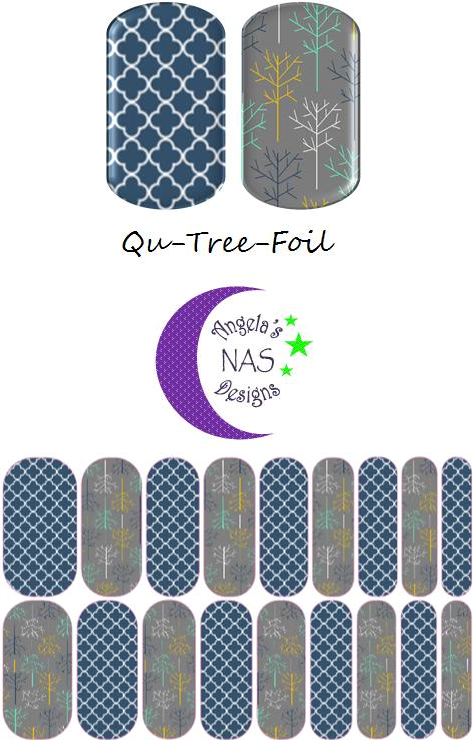 Qua-Tree-Foil Jamberry Nail Art Studio. Angela's NAS Designs. Quatrefoil Nails, Tree Nails. Fall Nails.