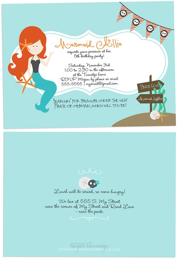 Mermaid and Pirate Birthday Party Invite - full party linked ...