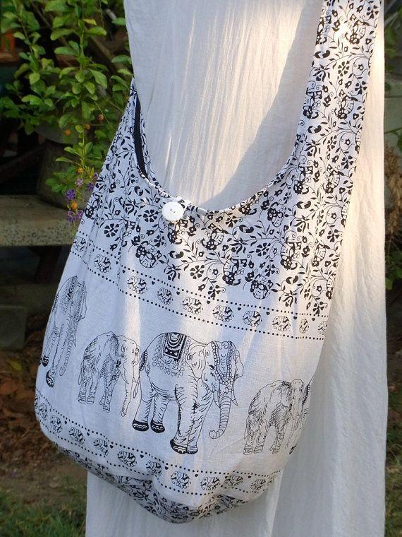 15e93feaf72c1 Elefant Kreuz Körper Tasche Handtasche Hobo Boho Hippie Vegan Mädchen Frau  Crossbody Baumwolle Messenger große Sommer-Tasche weiß Dünn
