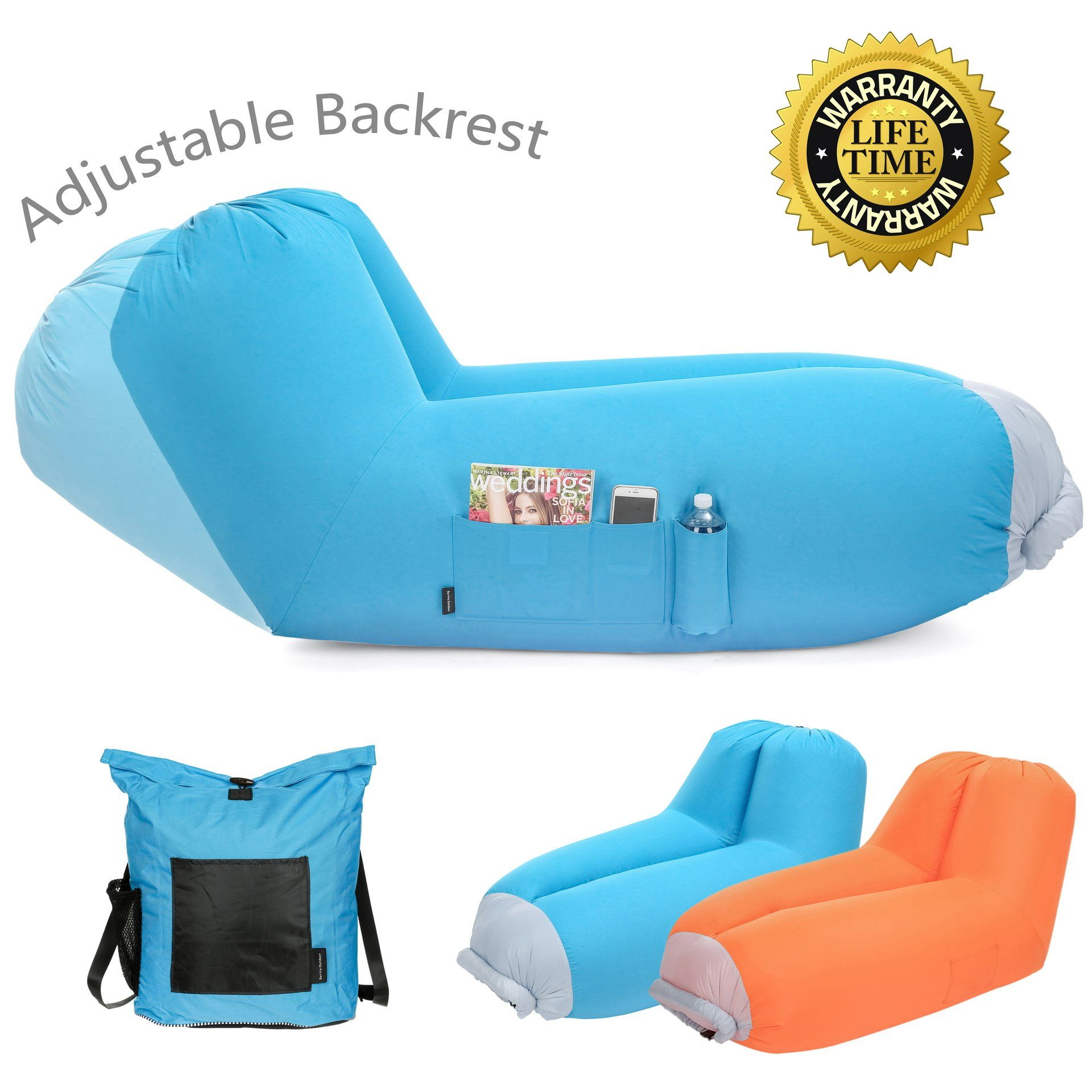 Inflatable Air Lounger Upgrade Adjustable Backrest Air Bed Sofa Perfect For Indoor Outdoor Hangout Air Chair Couch Hammock Air Lounger Lazy Bag Inflatable Sofa