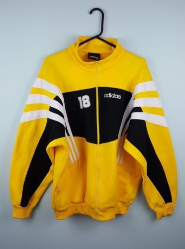 a018bb68953a3 MENS-VTG-RETRO-URBAN-ATHLETIC-SPORTS-YELLOW-ADIDAS-ZIP-UP-TRACKSUIT-TOP- JACKET