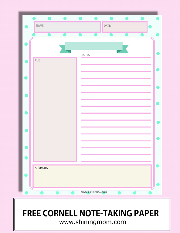 Happy Freebie Monday Note Taking Sheets Cornell Notes