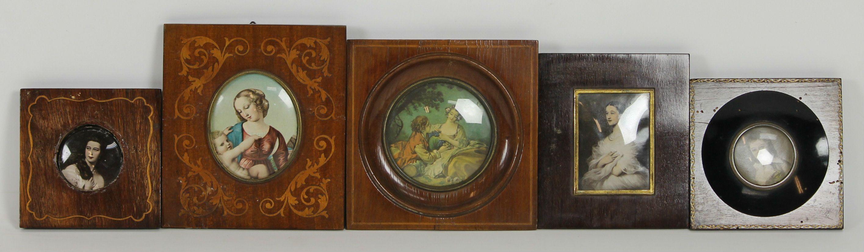 Set de 5 marcos y retratos. marcos en madera y marqueteria. siglo ...