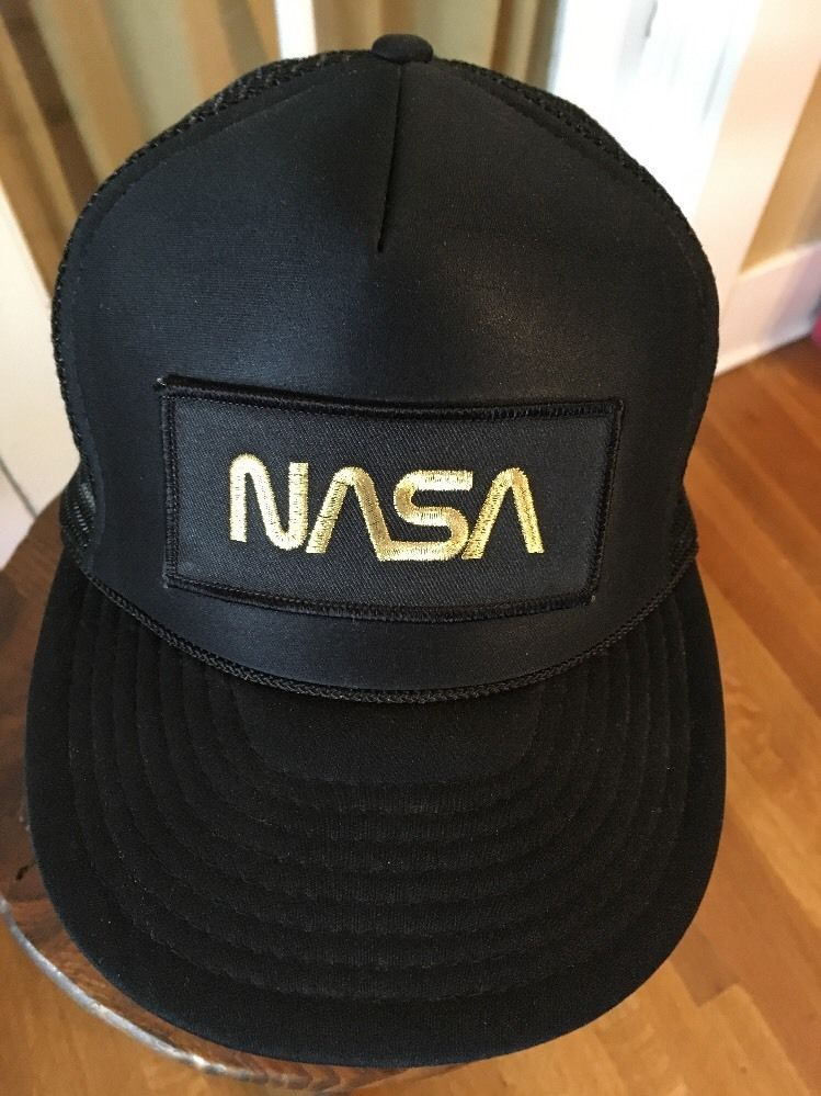 NASA Trucker Hat Cap with Patch Black and Gold Adjustable Snapback Mesh   NissinCap  Trucker 8d1a85b72d38