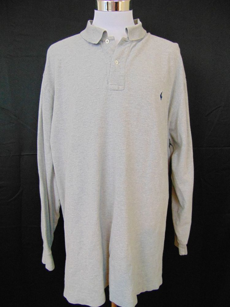 Polo Ralph Lauren Shirt Cotton Gray Long Sleeve 3XLT Tall #1044 #PoloRalphLauren #PoloRugby