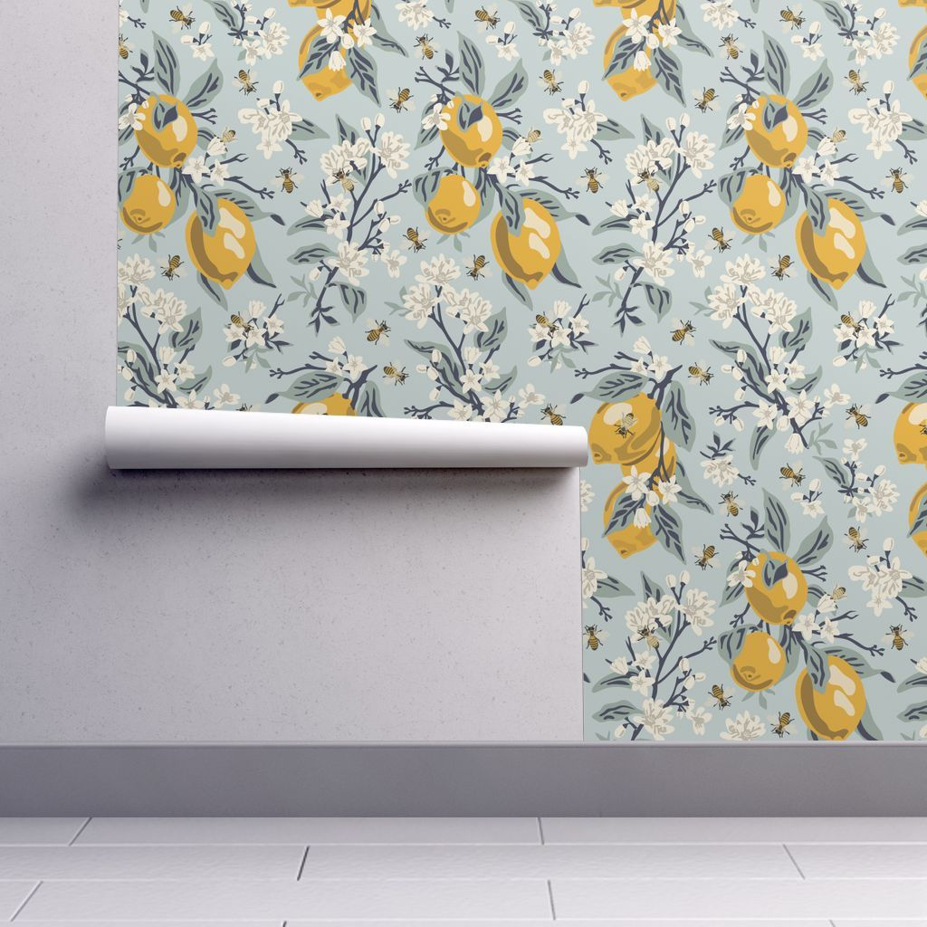 Wallpaper Bees And Lemons Blue Large Lemon decor