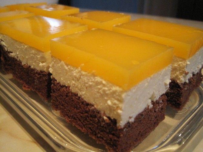 Receptbázis - Mirindás kocka - A tésztához:,7 ek.cukor,7 tojás,1 dl naraforgó olaj,2 ek.cukrozatlan kakaópor,5 ek liszt,1 késhegynyi sütőpor,Krémhez:,50 dkg túró,1 cs vaníliás cukor,4 ek.cukor,20 dkg margarin,1 citrom reszelthéja,Tetejére:,7 dl szénsavas narancsos üditőital,2 tasak vaniliás pudingpor,4 ek.cukor, - tojások sárgáját,olajjal hozzáadjuk,kevés sütőporral,tojások felvet,kevés habbal,többi habot,piskótát szokás,kész lapot,túrót cukrot,kihűlt tésztát,túrós krémet,rövid…