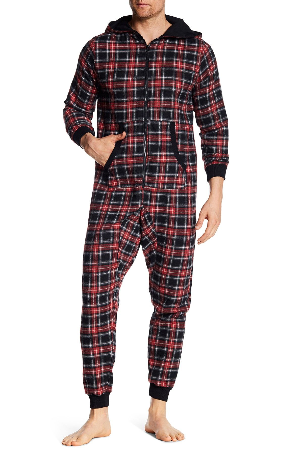 Bottoms Out Flannel Pajama Jumpsuit Mens onesie