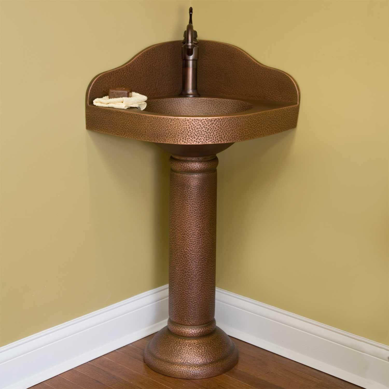 Corner Copper Pedestal Sink