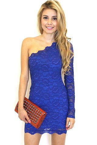 Short Blue One Shoulder Dress, Cocktail Dresses - Simply Dresses ...