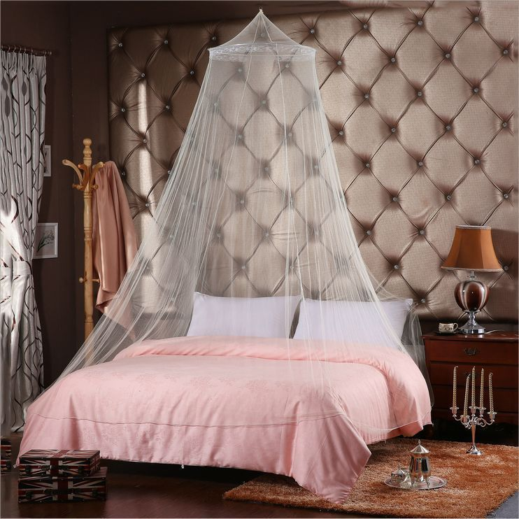 White Elegant Canopy Ring Lace Queen Princess Bed Netting Mosquito Net  Curtain