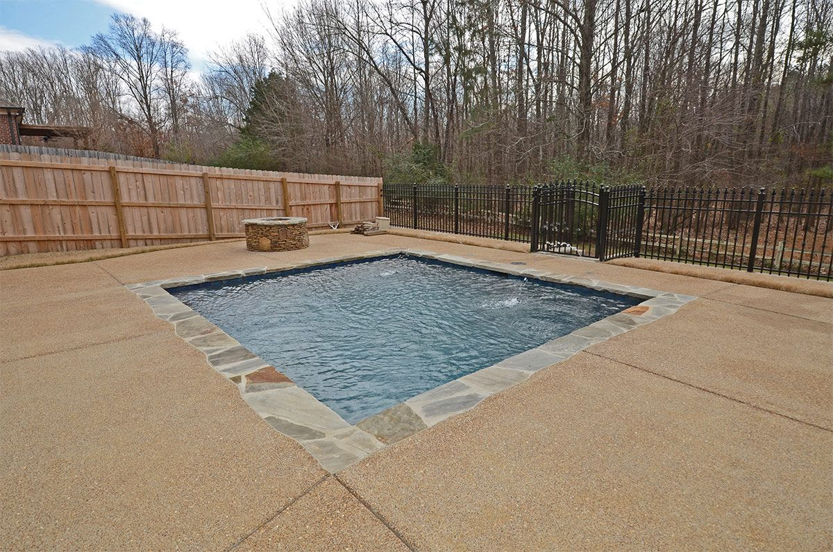 Small Swimming Pool With Deck Jets Small Swimming Pools Pool Decks Landscape Projects