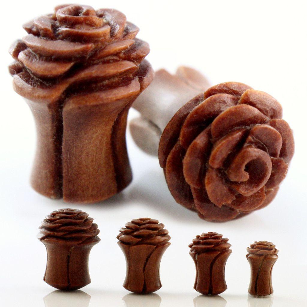 "Organic Hand Carved Wood Flower Rose Ear Gauges Plugs 2G 0g 00g 1 2"" 10mm 12mm | eBay"