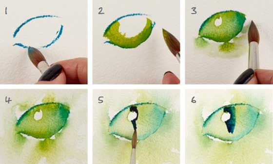 Watercolor Lesson How To Paint Cat Eyes Watercolor Cat