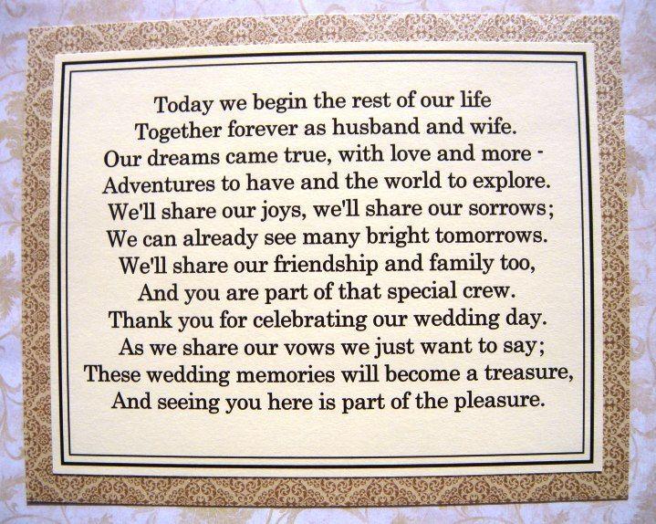 Wedding Cookie Table Poem