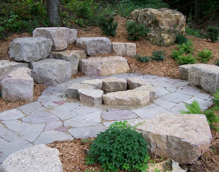 outdoor firepit with boulders