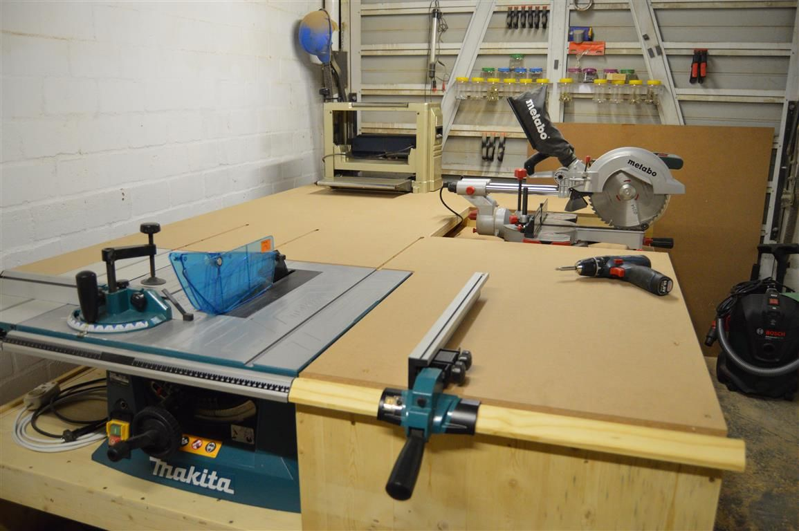 No Clash Miter Saw Installed To Table Saw Outfeed Table All In One Workbench Part 3 Woodwork Junki Miter Saw Bench Workbench Plans Diy Table Saw Workbench