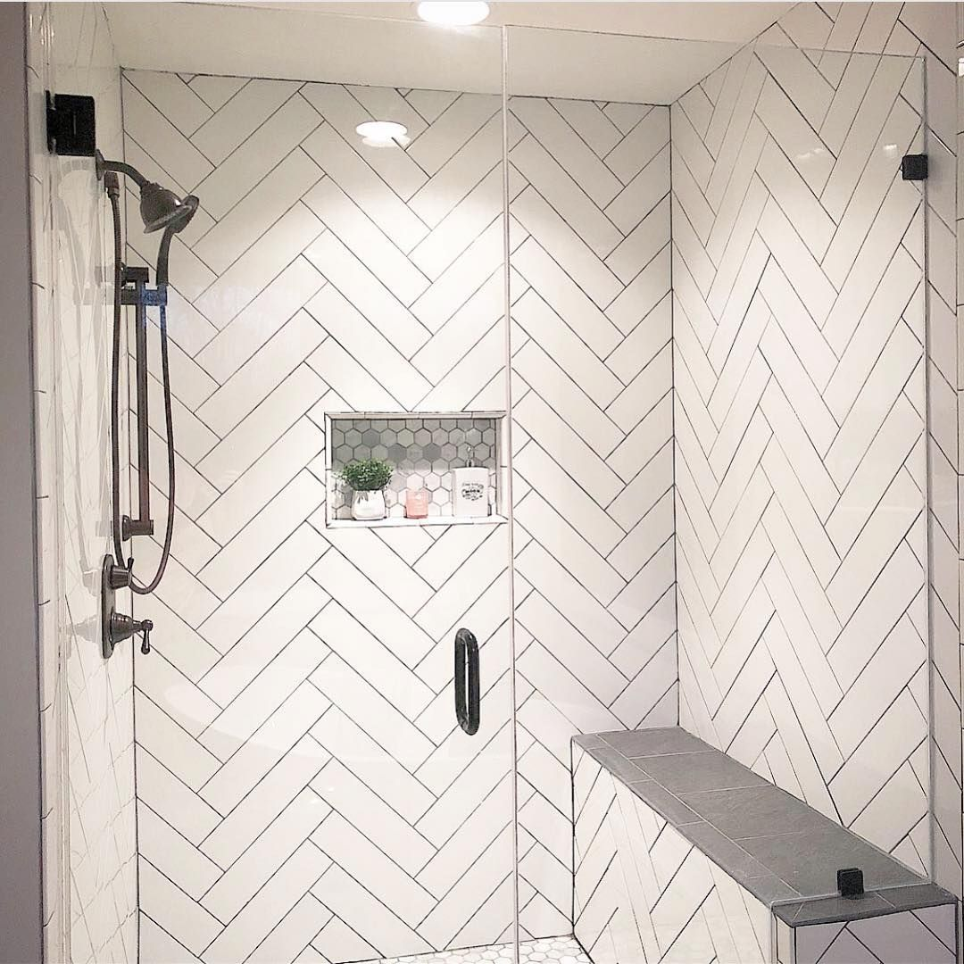 White Tile Grey Grout Master Bath