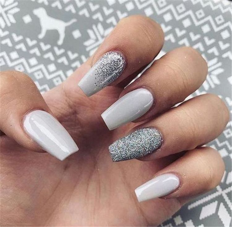 50 Stylish Winter Acrylic Coffin Nail Designs To Copy Right Now Page 2 Of 50 Cute Hostess For Mod In 2020 Winter Nails Acrylic Solid Color Nails Nail Colors Winter