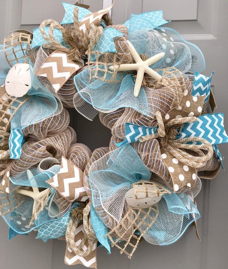 Photo of Beach wreath, burlap decorative net wreath with shells, sea wreath, shell wreath, welcome wreath
