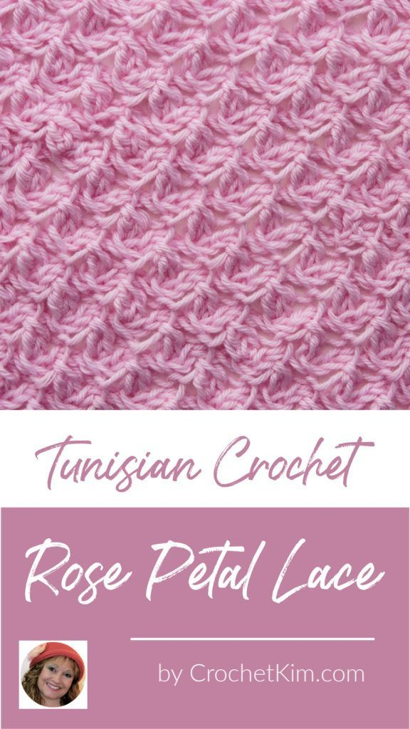 Tunisian Rose Petal Lace Crochet Stitch Tutorial #tunisiancrochet