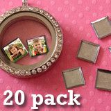20 Pack Tiny Square Picture Charms For Floating In Your Glass Locket