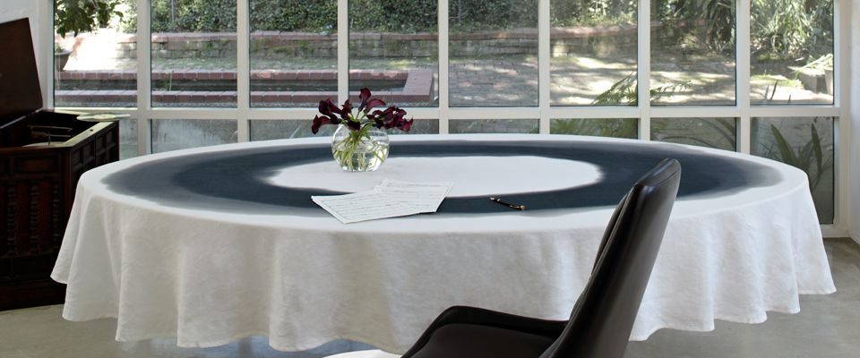 Exceptional Black And White Monochromatic Linen Tablecloth By Huddleson Linens