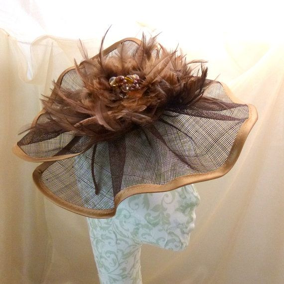 Brown & Copper trim feather  Headband by BridesDayRevisited, £49.00