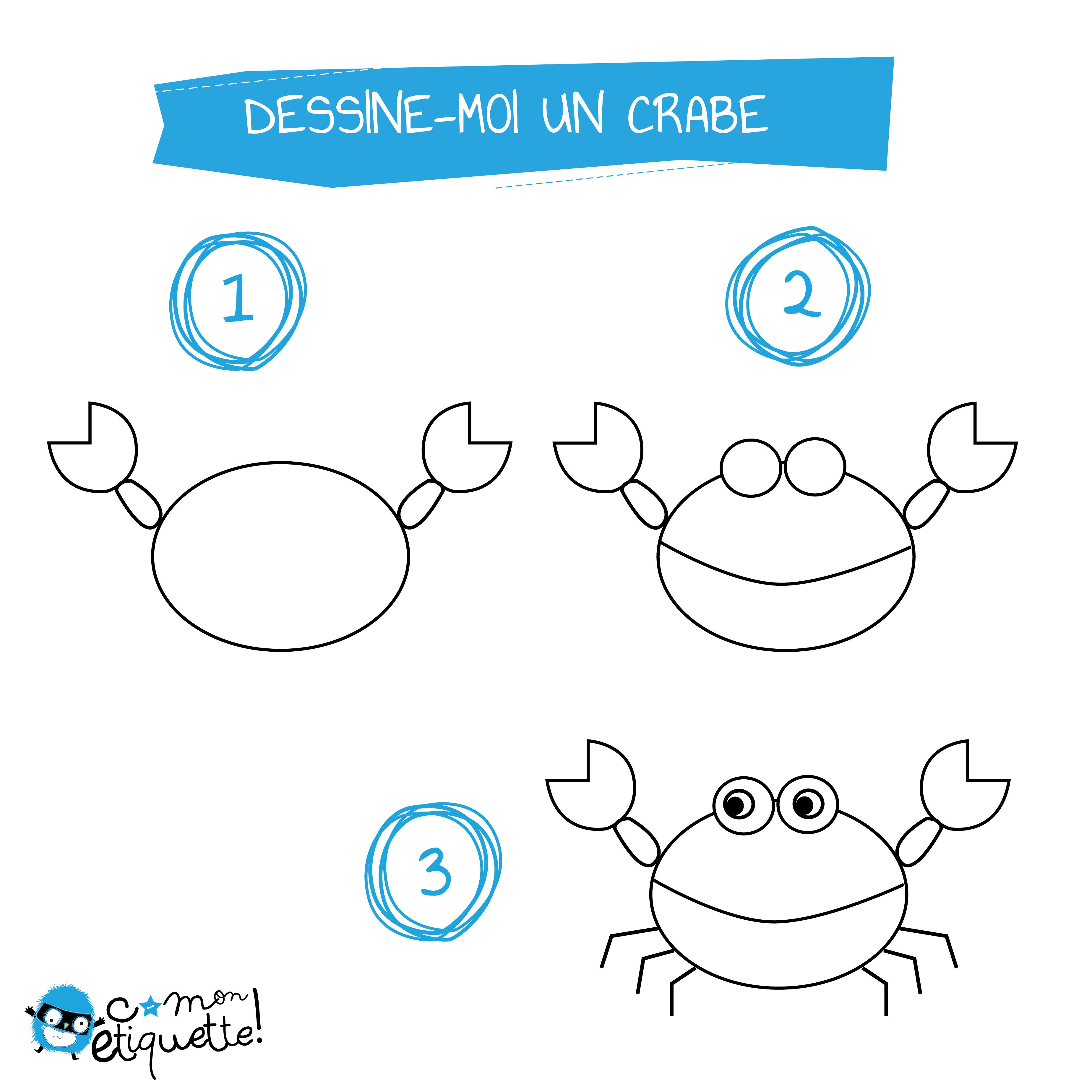 Activit enfant coloriage animaux de la mer dessine moi - Dessiner un crabe ...