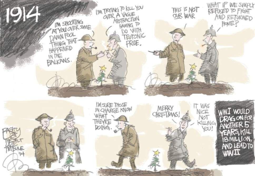 Bagley Cartoon: Christmas Truce 1914   The Salt Lake Tribune ...