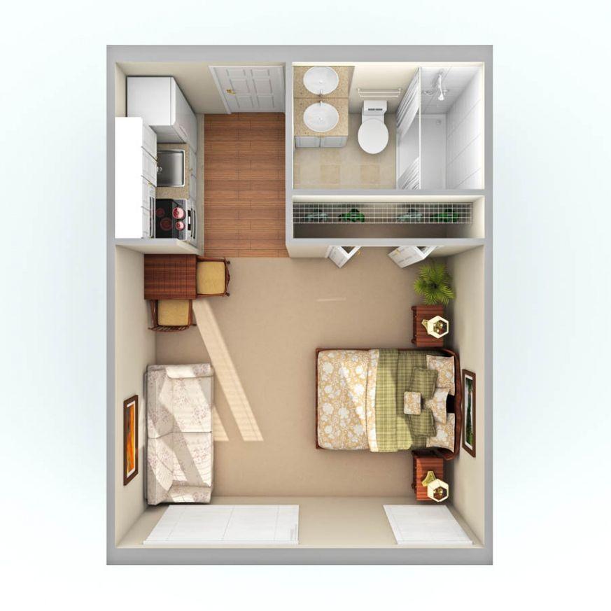 300 Sq Ft Apartment Floor Plan 3d 400 Square Foot Studio Apartment