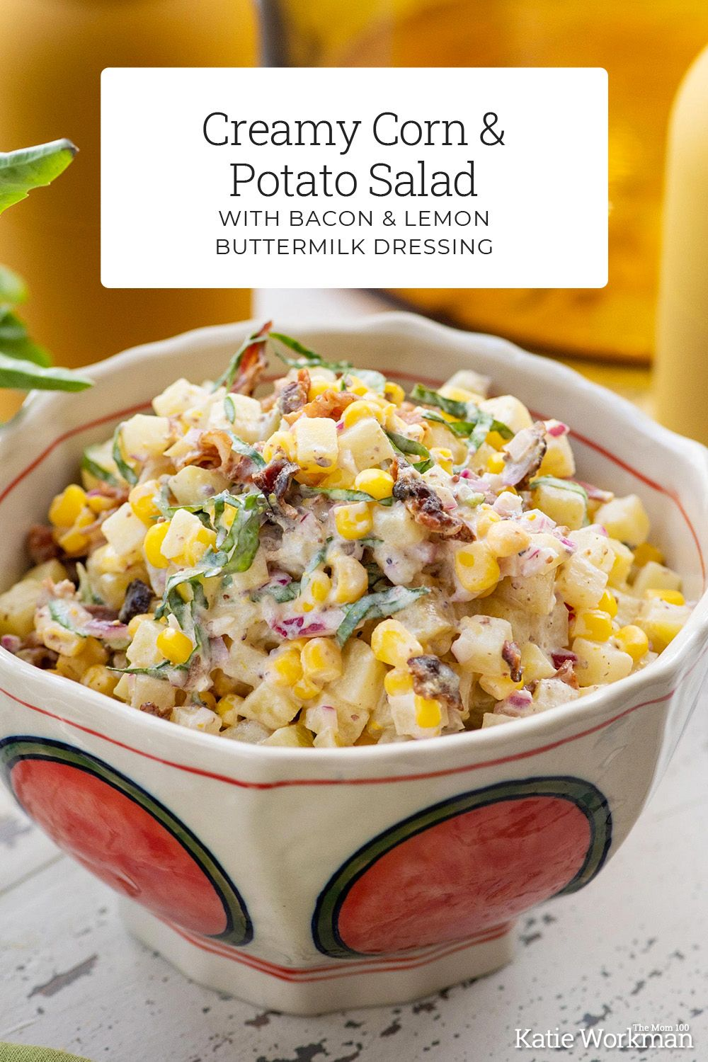 Creamy Corn And Potato Salad With Bacon And Lemon Buttermilk Dressing Recipe In 2020 Bacon Potato Salad Creamy Corn Potatoes