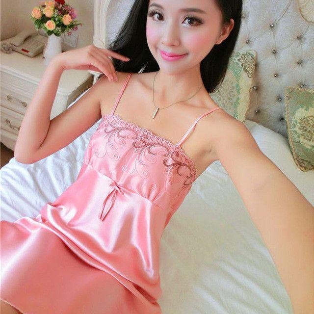 6271273ca599 2017 New Summer Silk Nightgowns Pijamas Women Plus Size Temptation Lovely  Nightdress Sexy Lingerie Soft Satin Sleepwear Bathrobe