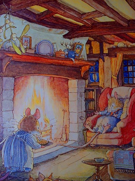 Brambly Hedge Winter Story: In the middle of hot summer, this picture looks so lovely.